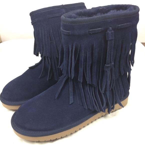 c4eb2340b4b Koolaburra Ugg Blue Suede Fringe Boots Women 7.5 NWT